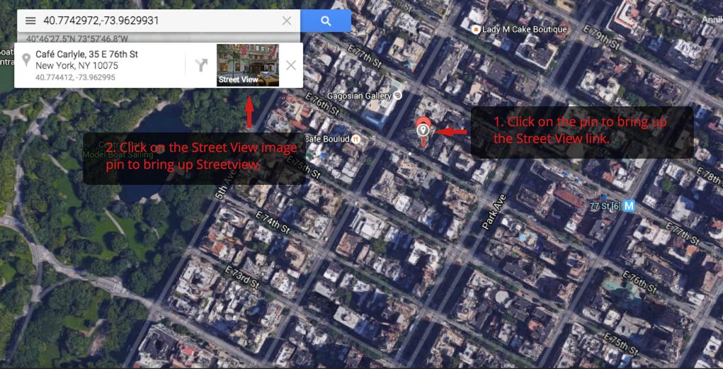 Google maps to street view