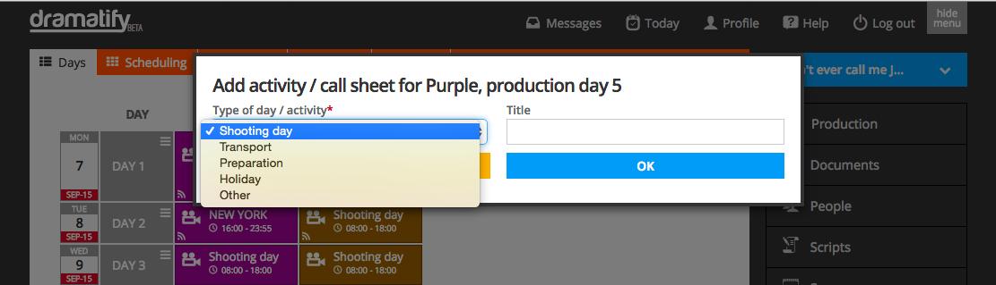 Add call sheet types
