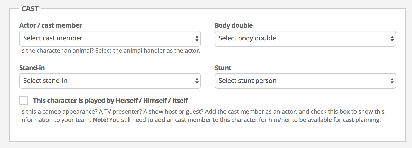 Cast member, stunt person, body double, stand-in
